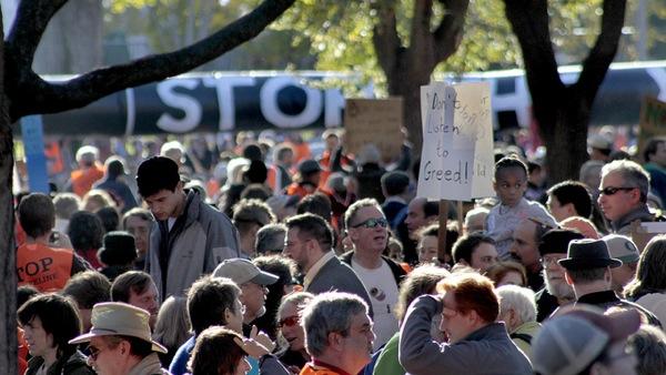 Protesta frente a la Casa Blanca contra el oleoducto de Keystone XL en 2011.Crédito: tarsandaction/CC by 2.0