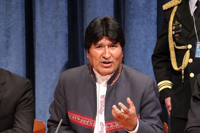 Evo Morales en una conferencia de prensa en la sede de la ONU en Nueva York. Crédito: Mathieu Vaas/IPS