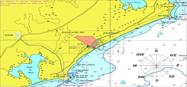 Emplazamiento de la proyectada terminal (en rosado) en la costa de Rocha, entre La Paloma, en la parte inferior izquierda, y Cabo Polonio, a la derecha y arriba. Crédito: Comisión Interministerial del Puerto de Aguas Profundas