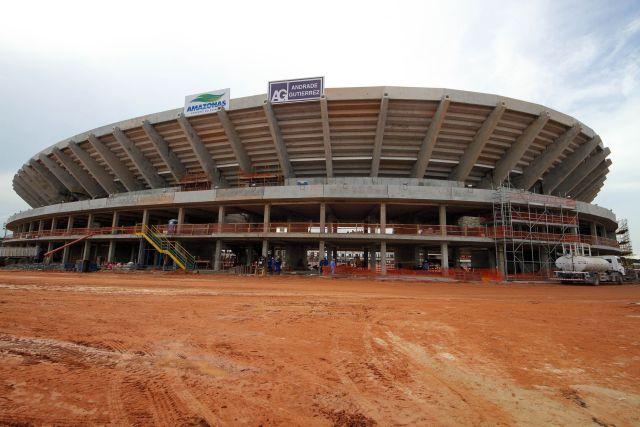 La empresa constructora Andrade Gutierrez es responsable de las obras del Arena da Amazônia, en las norteña ciudad de Manaus, donde murieron cuatro obreros. Crédito: Glauber Queiroz – Portal da Copa, Gobierno de Brasil