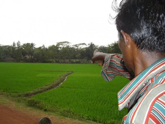 Un agricultor indio señala a su modesta parcela, que ya no produce lo suficiente para alimentar a su familia. Crédito: Sujoy Dhar/IPS