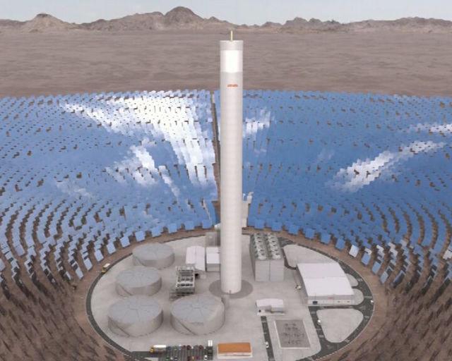 Recreación de cómo será la planta de Concentración Solar de Potencia de Cerro Dominador, que comenzará a operar en 2017 en el municipio de María Elena, en la norteña región chilena de Antofagasta. Crédito: Abengoa Chile