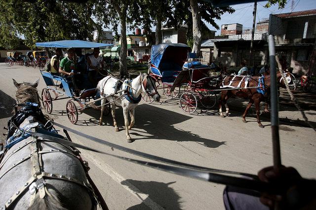 Habitantes de la ciudad de Bayamo, en la oriental provincia cubana de Granma, utilizan los coches tirados por caballos como transporte público. Crédito: Jorge Luis Baños/IPS