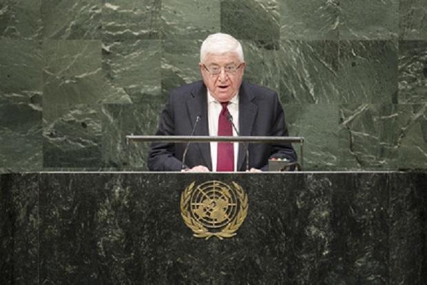 El presidente de Iraq, Fuad Masum, en la 69 Asamblea General de la ONU. Crédito: Foto de la ONU/Amanda Voisard