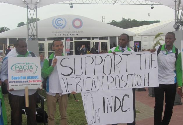 Miembros de la Alianza Panafricana de Justicia Climática se manifiestan en la conferencia de cambio climático en Lima. Crédito: Wambi Michael/IPS