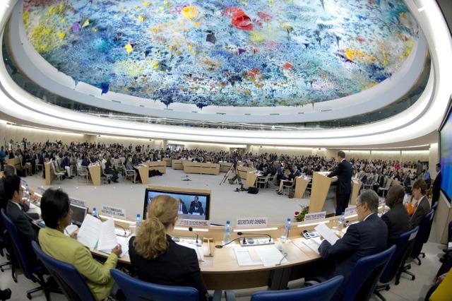 Una de las sesiones del Consejo de Derechos de Derechos Humanos en Ginebra. Crédito: UNPhotos