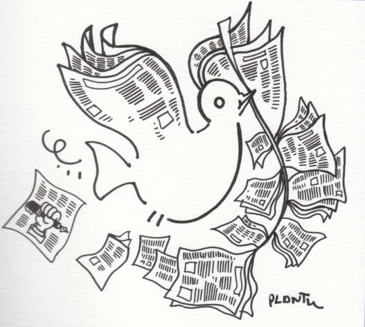 Dibujo por la paz. Crédito: Plantu