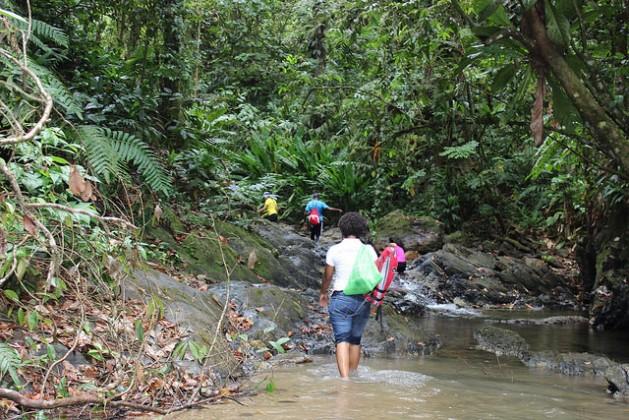 Miembros de la Red Ambiental de Jóvenes del Caribe despejan escombros de un río en Trinidad y Tobago. Crédito: Desmond Brown/IPS