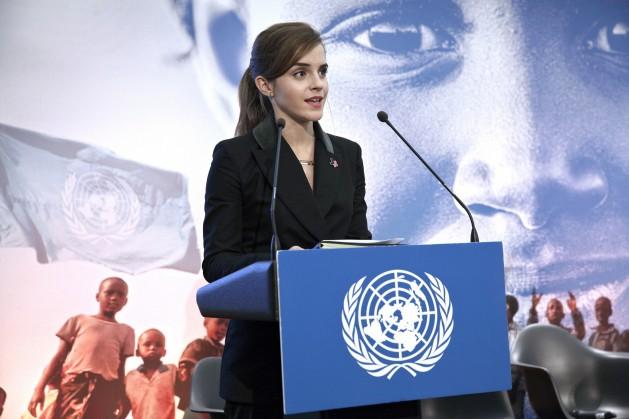 Emma Watson en el lanzamiento en enero de la iniciativa Impacto 10x10x10 de la campaña HeForShe, en Davos, Suiza. Crédito: ONU Mujeres / Celeste Sloman