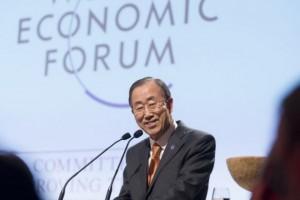 El secretario general Ban Ki-moon en el Foro Económico Mundial en Davos, Suiza, el 23 de enero. Crédito: Mark Garten/ONU