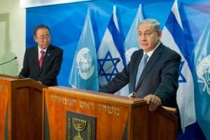 El secretario general de la ONU, Ban Ki-moon (izquierda) y el primer ministro de Israel, Benjamín Netanyahu, en Jerusalén, en octubre de 2014. Crédito: Eskinder Debebe/ONU
