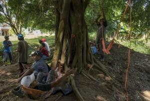 Trabajadores en huelga de las fincas de Sixaola, en el sur de la región del Caribe de Costa Rica, descansan en unas hamacas, tras compartir una olla de frijoles, mientras esperan noticias de sus líderes sindicales sobre el conflicto con el grupo transnacional Del Monte Foods. Crédito: Fabián Hernández Mena/ IPS