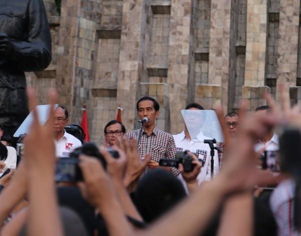 El presidente indonesio, Joko Widodo, durante una manifestación en el día de las elecciones, el 9 de julio de 2014, en Yakarta. Crédito: Sandra Siagian/IPS