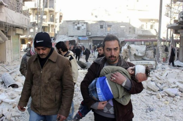 Las consecuencias de un bombardeo en Alepo, Siria, en febrero de 2014. Crédito: Freedom House/cc by 2.0