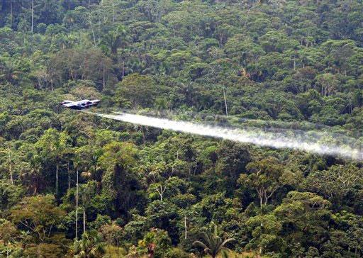 La fumigación de cultivos ilícitos con glifosato ha dañado el ambiente de la selva colombiana. Crédito: Dominio público