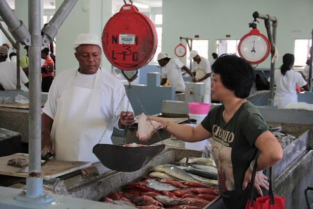 Una mujer compra pescado en un mercado de Kingstown, en San Vicente. Los gobernantes de la Comunidad del Caribe sostienen que la pesca es uno de los sectores más importantes que ya sufre las consecuencias del cambio climático. Crédito: Kenton X. Chance/IPS