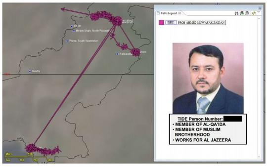 """Un cuadro de una presentación en PowerPoint de la NSA, fechado en junio de 2012, tiene la foto, el nombre y el número de identificación en una lista de vigilancia terrorista de Ahmad Muaffaq Zaidan, a quien clasifica como """"miembro de Al-Qaeda"""" y de la Hermandad Musulmana. También señala que """"trabaja para Al Jazeera."""" Cortesía de The Intercept"""