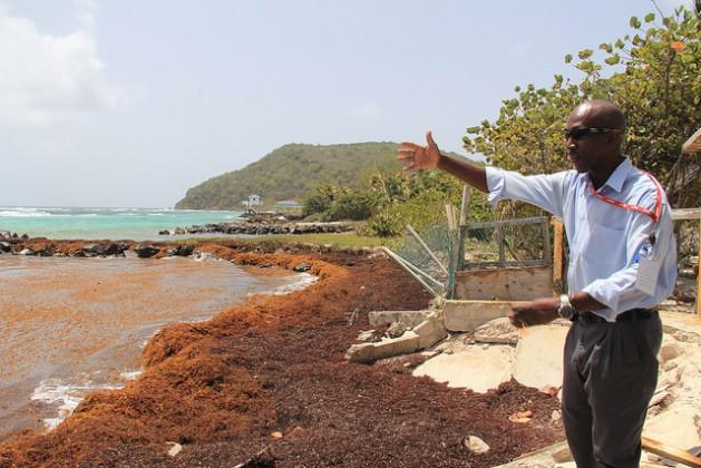 Allan Providence, empleado del Aeropuerto de la isla Unión, cuenta que vio subir el mar de forma significativa en los últimos 22 años. Crédito: Kenton X. Chance/IPS