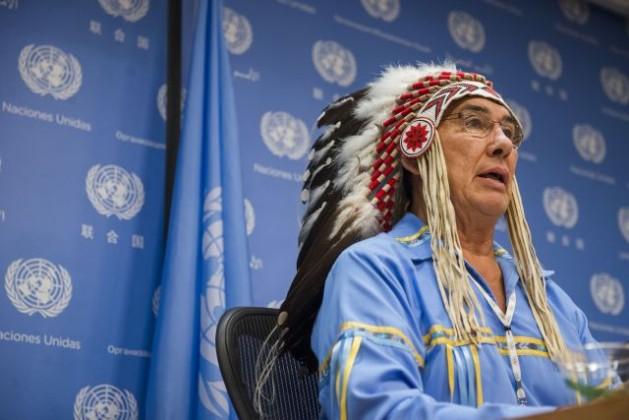 Jefe tribal Wilton Littlechild, asesor de la secretaría del Foro Permanente para las Cuestiones Indígenas de la ONU. Crédito: UN Photo/Amanda Voisard