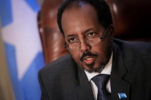 El presidente de Somalia, Hasan Sheij Mohamud, en su oficina presidencial. Crédito: Stuart Price/ONU
