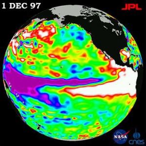 Fenómeno climático de El Niño de 1997-98 observado por TOPEX / Poseidon. - En.wikipedia.org