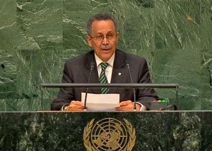 El secretario general de ACP, Patrick Gomes, en la Cumbre sobre Desarrollo Sostenible celebrada en la 70 Asamblea General de la ONU.