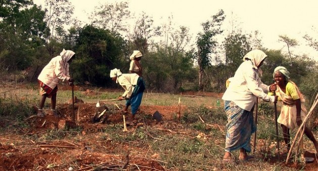 Mujeres trabajan la tierra en el estado de Telangana, en el sur de India. Crédito: Stella Paul/IPS.