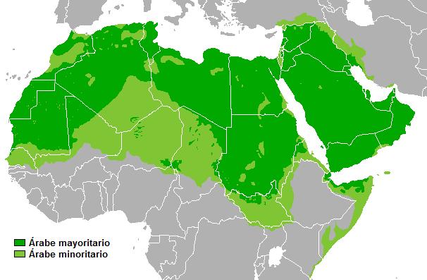 Países árabes en África y Medio Oriente. Crédito: Dominio Público