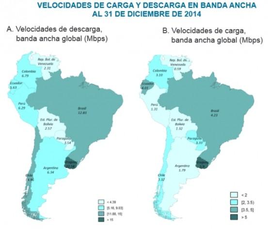 Mapa de la velocidad de la banda ancha en América Latina al cierre de 2014, según un informe de la Comisión Económica de América Latina y el Caribe (Cepal). Crédito: Cepal