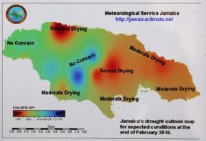 Mapa del Servicio Meteorológico de Jamaica con las sequías previstas hasta febrero de 2016.