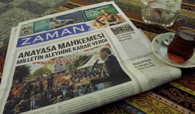 Primera plana del diario Zaman tras ser intervenido. En la foto el presidente Recep Tayyip Erdoğan. Crédito: Joris Leverink/IPS.