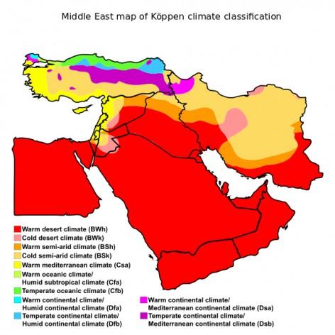 Mapa de Medio Oriente de la clasificación de Köppen, del 20 de febrero de 2016. Mejorado, modificado y vectorizado por Ali Zifan. Crédito: Creative Commons.