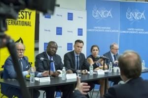 Conferencia de prensa de representantes de Amnistía Internacional y Human Rights Watch. Crédito: Loey Felipe/UN Photo.