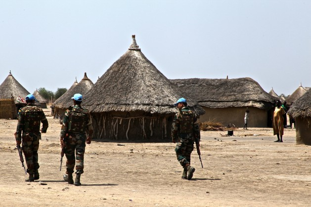 Cascos azules de la Misión de Asistencia de las Naciones Unidas en la República de Sudán del Sur (Unmiss). Crédito: Jared Ferrie/IPS.