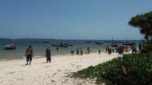En la playa de Gasi, sobre el océano Índico en Kenia, la gente espera la llegada de los pescadores para comprar pescado fresco. Crédit: Diana Wanyonyi/IPS.