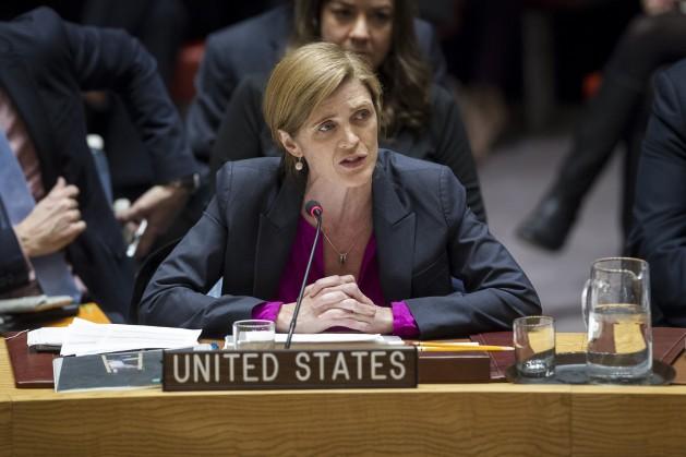 Representante saliente de Estados Unidos en la ONU, Samantha Power, se dirige al Consejo de Seguridad tras la votación contra los ilegales asentamientos israelíes en territorio palestinos de diciembre de 2016. Crédito:Manuel Elias/UN Photo