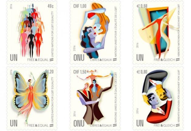 """Sellos conmemorativos de la campaña """"Libres e Iguales"""" de la ONU en defensa de los derechos de las personas LGBTI, lanzada en 2016, que despertaron malestar en los 54 países africanos y Rusia. Crédito: Administración Postal de la ONU"""