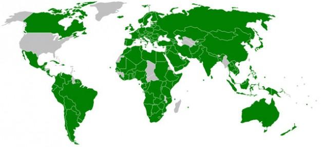 Mapa de los estados miembro de la Unión Interparlamentaria de 2009. Crédito: Joowwww/Dominio Público.