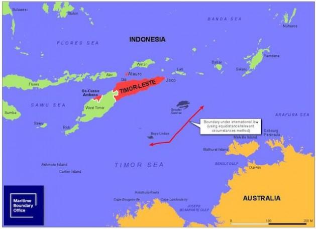 Timor Oriental quiere fijar un límte marítimo permanente con Australia en el medio del mar que los seapra. Fuente: Oficina de Límites Marítimos de Timor Oriental.