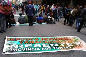 Cultivadores de hojas de coca de la tradicional región de los Yungas, en el noroeste de Bolivia, durante el cerco a la Asamblea Legislativa Plurinacional, en la ciudad de La Paz, en demanda de una ampliación de las hectáreas legales del cultivo en la nueva ley. Crédito: Franz Chávez/IPS