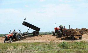 Agricultores descargan tierra en Sri Lanka. Crédito: FAO
