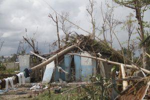 Una vivienda precaria en Gelée, en la localidad de Les Cayes, en Haití quedó seriamente dañada por un árbol caído durante el pasaje del huracán Matthew en octubre de 2016. Crédito: Kenton X. Chance/IPS.