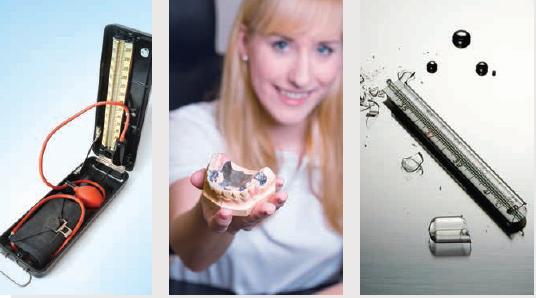Ejemplo de mercurio empleado en la salud: un tensiómetro, amalgamas dentales y termómetro. Crédito: PNUD.