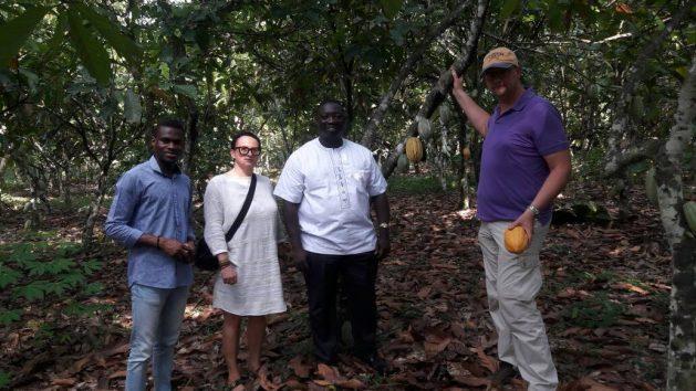 Emmanuel Afoakwa, profesor de tecnología y ciencias alimentarias de la Universidad de Ghana, y otros investigadores en una finca de cacao. Crédito: Kwaku Botwe/IPS.