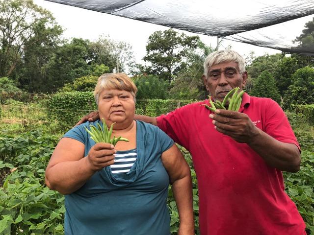 Lilliam Escalante Herrera y Santos Félix Membreño, dos inmigrantes que han hecho su vida como agricultores familiares en Liberia, en la provincia de Guanacaste, en Costa Rica. Crédito: Dennis Sánchez Acuña/FAO