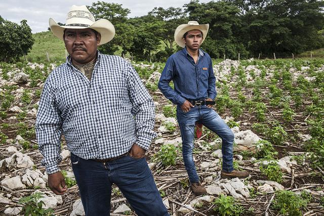 Paesano Gómez López y su hijo Luis Gustavo, en su predio en Nuevo Sonora, en el sureño estado de Chiapas, en México. Crédito: Alex Webb/Magnum Photos-FAO