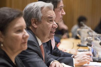 El secretario general de la ONU, António Guterres, detalló frente a la Asamblea General sus prioridades para 2018. Crédito: Eskinder Debebe/UN Photo.