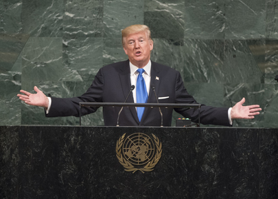 El presidente de Estados Unidos, Donald Trump, se dirige a la Asamblea General de la ONU en septiembre de 2017. Crédito: Cia Pak/UN Photo.