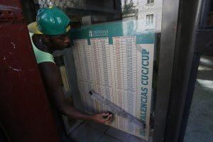 Un empleado limpia un cartel informativo con las equivalencias de las dos monedas oficiales en Cuba, en el exterior de un establecimiento recaudatorio de divisas en La Habana. Crédito: Jorge Luis Baños/IPS