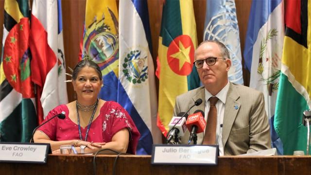 El representante regional de la FAO, Julio Berdergué, y la representante adjunta, Ewe Crowley, durante la presentación de los objetivos de la 35 Conferencia Regional del organismo, que se realizará en Jamaica, en marzo. Crédito: FAORLC